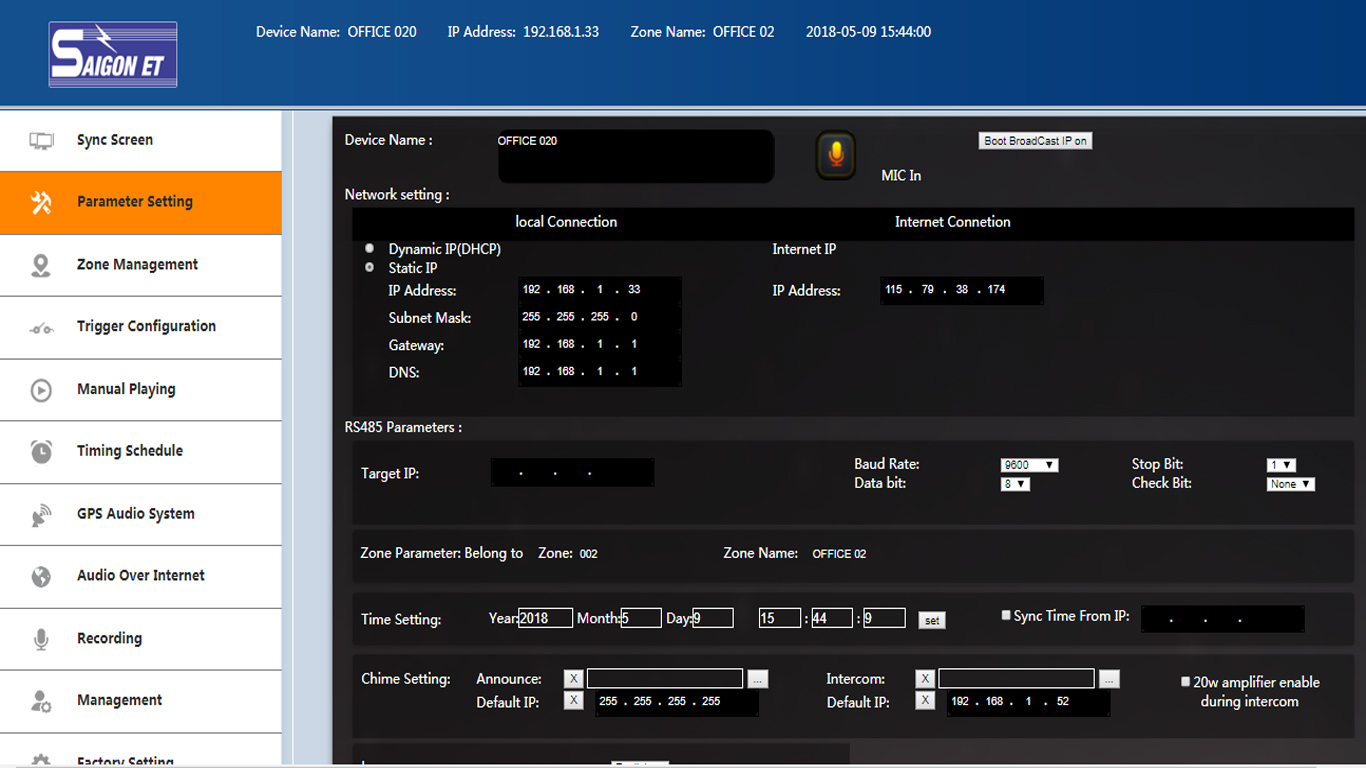 thiết bị âm thanh IP ET-207D